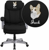 Embroidered HERCULES Series Big & Tall 500 lb. Rated Black Fabric Executive Swivel Chair with Arms [GO-1850-1-FAB-EMB-GG]
