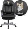 Embroidered HERCULES Series Big & Tall 500 lb. Rated Black Leather Executive Swivel Chair with Arms [GO-1850-1-LEA-EMB-GG]