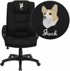Embroidered High Back Black Fabric Executive Swivel Chair with Arms [GO-5301B-BK-EMB-GG]