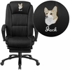 Embroidered High Back Black Fabric Executive Reclining Swivel Office Chair with Comfort Coil Seat Springs and Padded Armrests [BT-90288H-BK-EMB-GG]