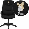 Embroidered High Back Black Fabric Executive Swivel Chair with Arms [BT-134A-BK-EMB-GG]