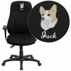 Embroidered High Back Black Fabric Multifunction Ergonomic Swivel Task Chair with Adjustable Arms [BT-90297H-A-EMB-GG]