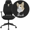 Embroidered High Back Black Fabric Executive Swivel Chair with Height Adjustable Headrest and Arms [CS-75-EMB-GG]