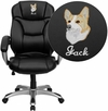 Embroidered High Back Black Leather Contemporary Executive Swivel Chair with Arms [GO-725-BK-LEA-EMB-GG]