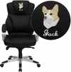 Embroidered High Back Black Leather Contemporary Executive Swivel Chair [H-9626L-2-EMB-GG]