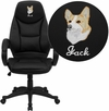 Embroidered High Back Black Leather Contemporary Executive Swivel Chair with Arms [H-HLC-0005-HIGH-1B-EMB-GG]