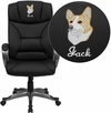 Embroidered High Back Black Leather Executive Swivel Chair with Arms [BT-9177-BK-EMB-GG]