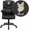 Embroidered High Back Black Leather Executive Swivel Chair with Arms [BT-9896H-EMB-GG]