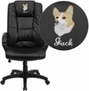 Embroidered High Back Black Leather Executive Swivel Chair with Arms [GO-5301B-BK-LEA-EMB-GG]