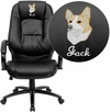Embroidered High Back Black Leather Executive Swivel Chair with Arms [GO-710-BK-EMB-GG]