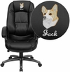 Embroidered High Back Black Leather Executive Swivel Chair with Arms [GO-7145-BK-EMB-GG]