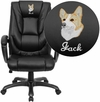 Embroidered High Back Black Leather Executive Swivel Chair with Arms [GO-7194B-BK-EMB-GG]