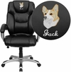 Embroidered High Back Black Leather Executive Swivel Chair [GO-931H-BK-EMB-GG]