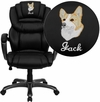 Embroidered High Back Black Leather Executive Swivel Chair with Arms [GO-901-BK-EMB-GG]