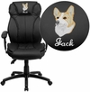 Embroidered High Back Black Leather Multifunction Executive Swivel Chair with Lumbar Support Knob with Arms [BT-9835H-EMB-GG]
