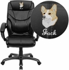 Embroidered High Back Black Leather Overstuffed Executive Swivel Chair with Arms [GO-724H-BK-LEA-EMB-GG]