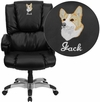 Embroidered High Back Black Leather OverStuffed Executive Swivel Chair with Fully Upholstered Arms [GO-958-BK-EMB-GG]
