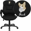 Embroidered High Back Black Microfiber Contemporary Executive Swivel Chair with Arms [GO-725-BK-EMB-GG]