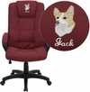 Embroidered High Back Burgundy Fabric Executive Swivel Chair with Arms [GO-5301B-BY-EMB-GG]