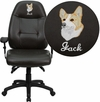 Embroidered High Back Espresso Brown Leather Multifunction Executive Swivel Chair with Adjustable Arms [BT-2350-BRN-EMB-GG]