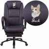 Embroidered High Back Gray Fabric Executive Reclining Swivel Office Chair with Comfort Coil Seat Springs and Padded Armrests [BT-90288H-GY-EMB-GG]