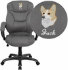 Embroidered High Back Gray Microfiber Contemporary Executive Swivel Chair with Arms [GO-725-GY-EMB-GG]
