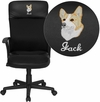 Embroidered High Back Black Leather and Mesh Executive Swivel Chair with Arms [CP-A142A01-EMB-GG]