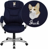 Embroidered High Back Navy Blue Microfiber Contemporary Executive Swivel Chair with Arms [GO-725-NVY-EMB-GG]