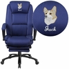 Embroidered High Back Navy Fabric Executive Reclining Swivel Office Chair with Comfort Coil Seat Springs and Padded Armrests [BT-90288H-NY-EMB-GG]