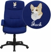 Embroidered High Back Navy Blue Fabric Executive Swivel Chair with Arms [BT-134A-NVY-EMB-GG]
