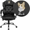 Embroidered High Back Transitional Style Black Leather Executive Swivel Chair with Arms [GO-908A-BK-EMB-GG]