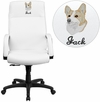 Embroidered High Back White Leather Executive Swivel Chair with Memory Foam Padding with Arms [BT-90033H-WH-EMB-GG]