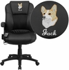 Embroidered Massaging Black Leather Executive Swivel Chair with Arms [BT-2536P-1-EMB-GG]