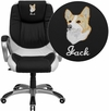 Embroidered Mid-Back Black and White Leather Executive Swivel Chair with Arms [CH-CX0217M-EMB-GG]