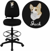 Embroidered Mid-Back Black Fabric Multifunction Drafting Chair with Adjustable Lumbar Support [WL-A654MG-BK-D-EMB-GG]