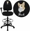 Embroidered Mid-Back Black Fabric Multifunction Drafting Chair with Adjustable Lumbar Support and Adjustable Arms [WL-A654MG-BK-AD-EMB-GG]