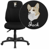 Embroidered Mid-Back Black Fabric Multifunction Ergonomic Swivel Task Chair [BT-90297M-EMB-GG]