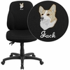 Embroidered Mid-Back Black Fabric Multifunction Ergonomic Swivel Task Chair [BT-90297S-EMB-GG]