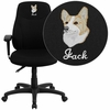 Embroidered Mid-Back Black Fabric Multifunction Ergonomic Swivel Task Chair with Adjustable Arms [BT-90297M-A-EMB-GG]