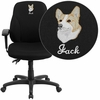 Embroidered Mid-Back Black Fabric Multifunction Ergonomic Swivel Task Chair with Adjustable Arms [BT-90297S-A-EMB-GG]