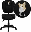 Embroidered Mid-Back Black Fabric Multifunction Ergonomic Swivel Task Chair [GO-930F-BK-EMB-GG]