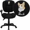 Embroidered Mid-Back Black Fabric Multifunction Ergonomic Swivel Task Chair with Adjustable Arms [GO-930F-BK-ARMS-EMB-GG]