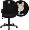 Embroidered Mid-Back Black Fabric Executive Swivel Chair with Nylon Arms [GO-ST-6-BK-EMB-GG]