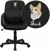 Embroidered Mid-Back Black Glove Vinyl Executive Swivel Chair with Arms [H8020-EMB-GG]