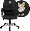 Embroidered Mid-Back Black Leather Contemporary Swivel Manager's Chair with Arms [H-9637L-2-MID-EMB-GG]