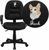 Embroidered Mid-Back Black Leather Ergonomic Swivel Task Chair with Adjustable Arms [BT-682-BK-EMB-GG]