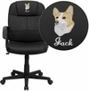 Embroidered Mid-Back Black Leather Executive Swivel Chair with Arms [BT-8075-BK-EMB-GG]