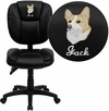 Embroidered Mid-Back Black Leather Multifunction Ergonomic Swivel Task Chair [GO-930F-BK-LEA-EMB-GG]