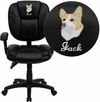 Embroidered Mid-Back Black Leather Multifunction Ergonomic Swivel Task Chair with Adjustable Arms [GO-930F-BK-LEA-ARMS-EMB-GG]