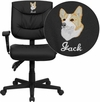 Embroidered Mid-Back Black Leather Multifunction Swivel Task Chair with Adjustable Arms [GO-1574-BK-A-EMB-GG]